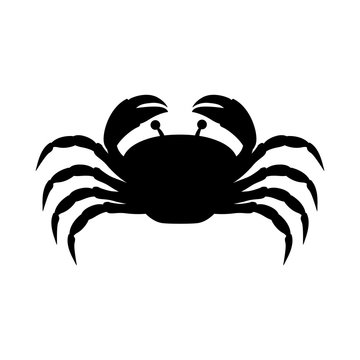 black silhouette graphic with crab vector illustration