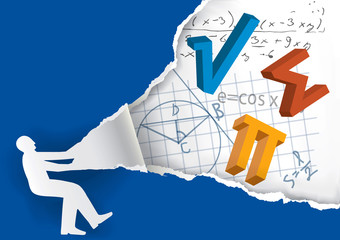Discover the world of math. Human silhouette ripping paper with mathematics symbols and notes. Vector available.