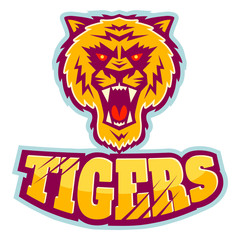 sport logo with tiger head.
