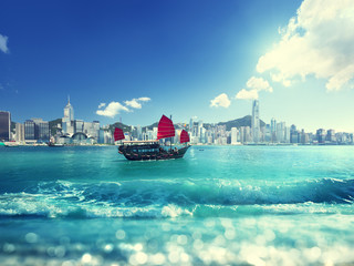 Fototapete - Hong Kong and tilt shift effect