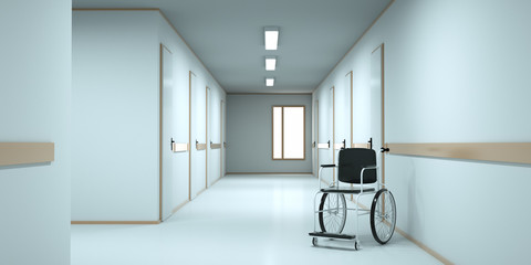 Wheelchair standing in an empty hospital corridor. 3d render