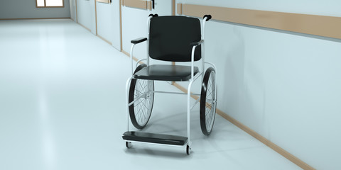 Wheelchair standing in an empty hospital corridor. 3d render