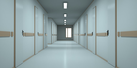 Bright corridor in the hospital. 3d render