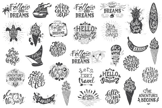 Summer travelling Hand drawn lettering, typography inscriptions
