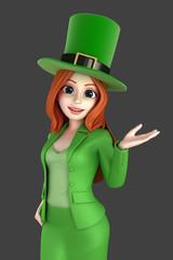 3d render of a woman wearing leprechaun hat presenting something