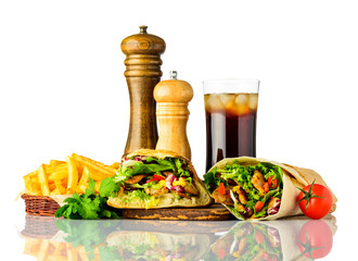 Kebab and Shawarma Sandwich with Cola on White