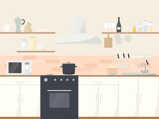 kitchen interior front view