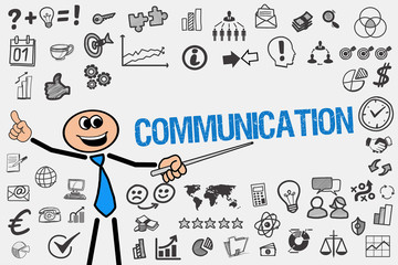 Communication / Mann mit Symbole