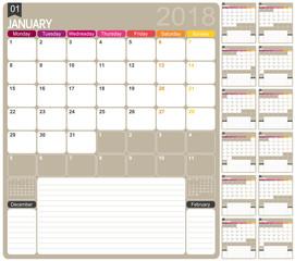 Calendar 2018 / English calendar template for year 2018, set of 12 months, week starts on Monday, printable calendar templates