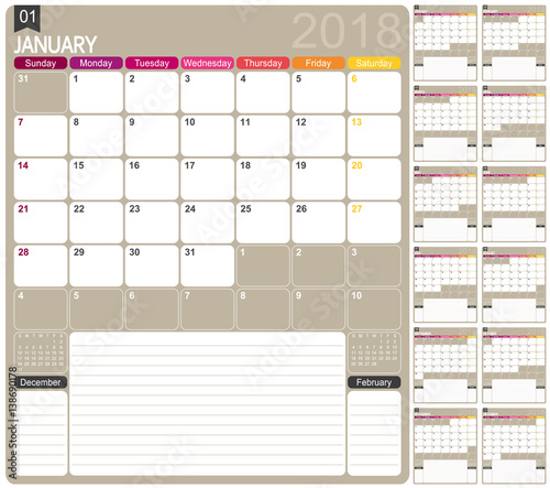 Calendar 2018 English Calendar Template For Year 2018 Set Of 12