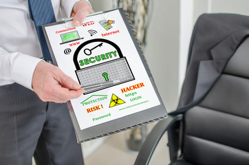 Data security concept on a clipboard