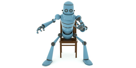 Tired robot has a rest sitting in the chair and crossed his legs, 3d render