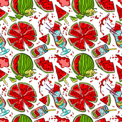Watermelon. Seamless vector pattern (background).