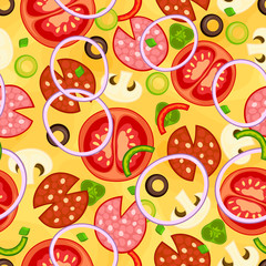 Seamless pizza pattern with different ingredients. Vector illustration