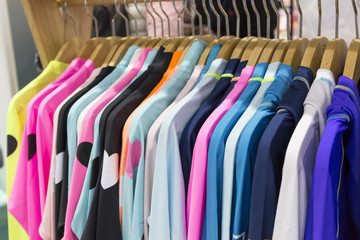 displayed clothes in the store. sports apparel, sportswear