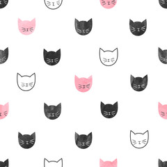 Seamless cute cats pattern. Vector background with watercolor cat heads