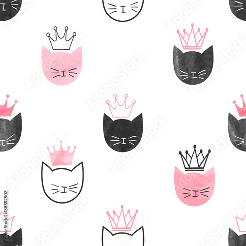 Seamless watercolor princess cats pattern vector - Rosa weiay gestreifte tapete ...