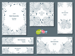 Set of different templates for Easter Day card, invitation, banner, flyer.