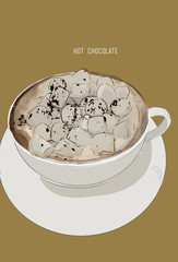 Hot chocolate cup with marshmallows, illustration vector