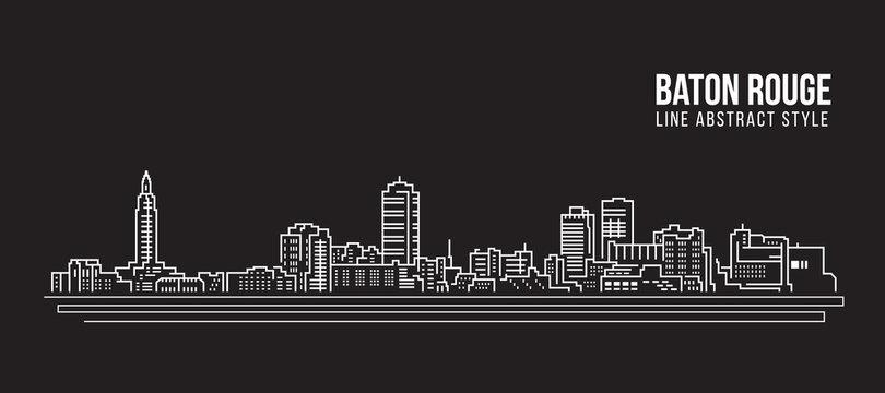 Cityscape Building Line art Vector Illustration design - Baton Rouge city