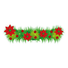 Wreath with christmas flowers decorative vector illustration