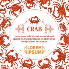 Red crabs background with round frame.