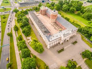 Zamek lubelski widziany z lotu ptaka.