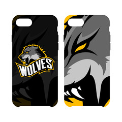 Furious wolf sport vector logo concept smart phone case isolated on white background. Premium quality wild animal artwork cell phone cover illustration.