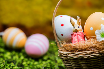 Happy Easter day, bunny and egg, Christians worldwide celebrate
