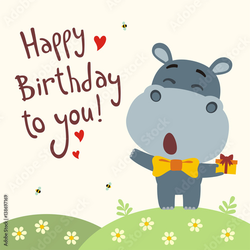 Happy birthday to you! Funny hippo sings birthday song with
