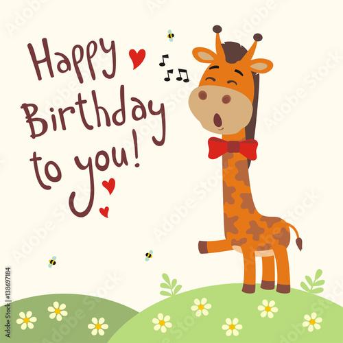 """Happy Birthday To You! Funny Giraffe Sings Birthday Song"