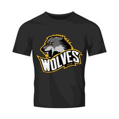 Furious wolf sport vector logo concept isolated on black t-shirt mockup. Modern web infographic predator team pictogram. Premium quality wild animal t-shirt tee print illustration