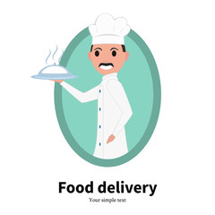 Vector icon cartoon portrait male chef cook