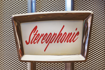 Close up of a vintage jukebox with the text stereophonic