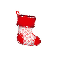 red christmas socks with fur and snowflakes vector illustration