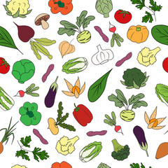 Hand drawn Seamless pattern with fresh vegetables.