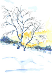Watercolor painted tree near sunset. Artistic landscape.