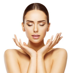 Woman Face Hands Beauty, Skin Care Makeup Eyes Closed, Beautiful Natural Make Up, White Isolated