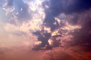 Beautiful sky and clouds at sunset.