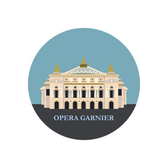 Opera Garnier in Paris. France. Vector illustration, snook. Isolated on a white background.