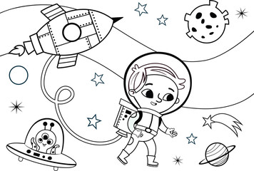 Astronaut Boy Coloring Page (Vector illustration)