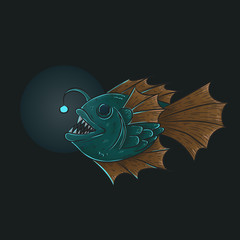 Deep sea anglerfish, isolated on white, vector illustration, eps-10