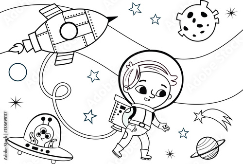 """Astronaut Boy Coloring Page (Vector Illustration)"" Stock"