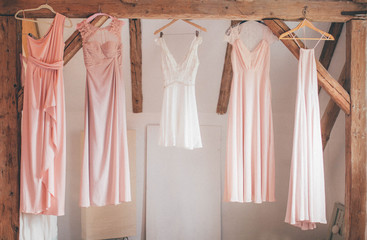 hanging bridesmaid dresses