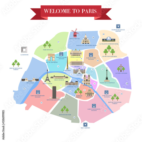 Detailed map of Paris attractions.\