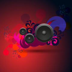Abstract vintage music background with round speakers