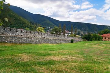 Wall of Sheki fortress in the town. Azerbaijan