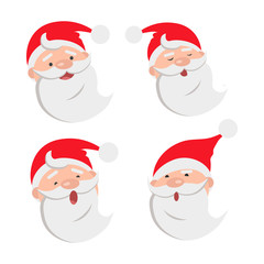 Collection of four Santa Claus Face Expressions