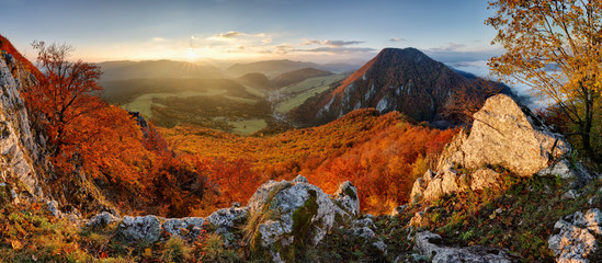 Panorama at autumn from peak Manin - Povazska Bystrica