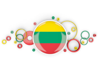Round flag of lithuania with circles pattern